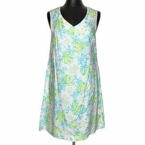 J Jill Tropical Linen Coral Turtle Shift Dress